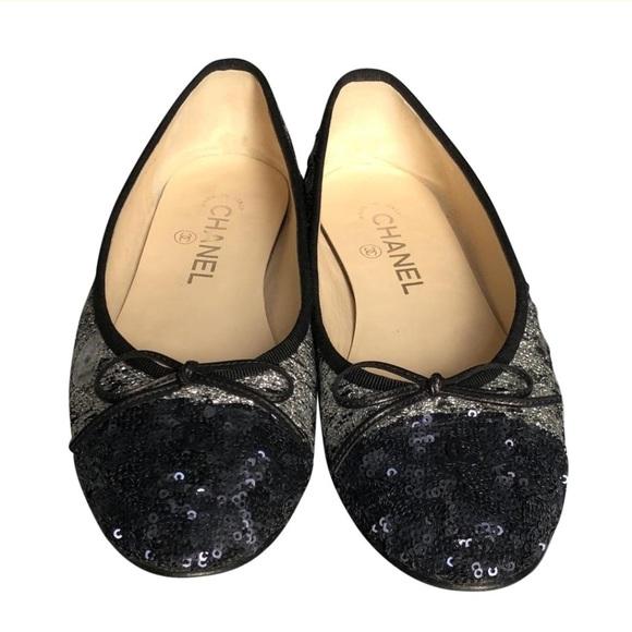 67ae1fec59c78 CHANEL Shoes | Sequined Cap Toe Ballerina Flats Size 8 | Poshmark